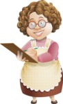 Grandma Vector Cartoon Character - 112 Illustrations Set - Writing on Notepad