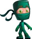 Green Ninja Cartoon Vector Character AKA Takumi - Normal