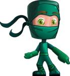 Green Ninja Cartoon Vector Character AKA Takumi - Point 2