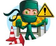 Green Ninja Cartoon Vector Character AKA Takumi - Shape 1