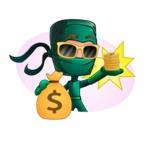 Green Ninja Cartoon Vector Character AKA Takumi - Shape 2