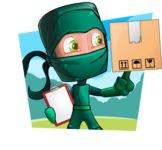Green Ninja Cartoon Vector Character AKA Takumi - Shape 4