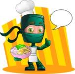 Green Ninja Cartoon Vector Character AKA Takumi - Shape 5