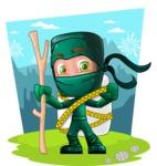 Green Ninja Cartoon Vector Character AKA Takumi - Shape 6
