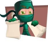Green Ninja Cartoon Vector Character AKA Takumi - Shape 8