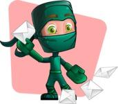 Green Ninja Cartoon Vector Character AKA Takumi - Shape 9