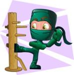 Green Ninja Cartoon Vector Character AKA Takumi - Shape 10