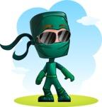 Green Ninja Cartoon Vector Character AKA Takumi - Shape 11