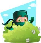 Green Ninja Cartoon Vector Character AKA Takumi - Shape 12