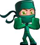 Green Ninja Cartoon Vector Character AKA Takumi - Stop 2