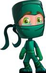Green Ninja Cartoon Vector Character AKA Takumi - Sad 1