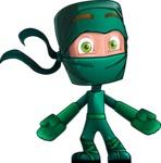 Green Ninja Cartoon Vector Character AKA Takumi - Shocked