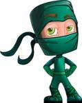 Green Ninja Cartoon Vector Character AKA Takumi - Roll Eyes