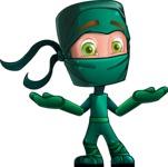 Green Ninja Cartoon Vector Character AKA Takumi - Lost