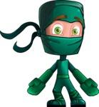 Green Ninja Cartoon Vector Character AKA Takumi - Lost 2