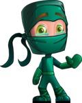 Green Ninja Cartoon Vector Character AKA Takumi - GoodBye