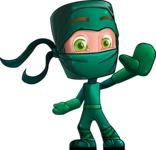 Green Ninja Cartoon Vector Character AKA Takumi - Hello