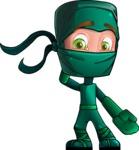 Green Ninja Cartoon Vector Character AKA Takumi - Oops