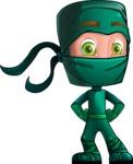 Green Ninja Cartoon Vector Character AKA Takumi - Patient