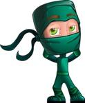 Green Ninja Cartoon Vector Character AKA Takumi - Bored 1