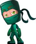 Green Ninja Cartoon Vector Character AKA Takumi - Bored 2