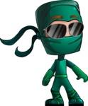 Green Ninja Cartoon Vector Character AKA Takumi - Sunglasses 1