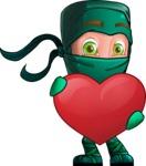 Green Ninja Cartoon Vector Character AKA Takumi - Show Love
