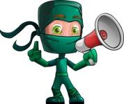 Green Ninja Cartoon Vector Character AKA Takumi - Loudspeaker