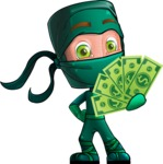 Green Ninja Cartoon Vector Character AKA Takumi - Show me the Money