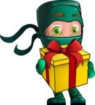 Green Ninja Cartoon Vector Character AKA Takumi - Gift