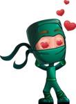 Green Ninja Cartoon Vector Character AKA Takumi - Love