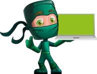 Green Ninja Cartoon Vector Character AKA Takumi - Laptop 1