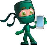 Green Ninja Cartoon Vector Character AKA Takumi - Smartphone 1