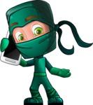 Green Ninja Cartoon Vector Character AKA Takumi - Smartphone 2