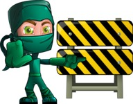 Green Ninja Cartoon Vector Character AKA Takumi - Under Construction 1