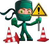 Green Ninja Cartoon Vector Character AKA Takumi - Under Construction 2
