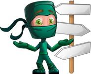 Green Ninja Cartoon Vector Character AKA Takumi - Crossroads