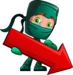 Green Ninja Cartoon Vector Character AKA Takumi - Pointer 1