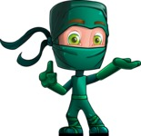 Green Ninja Cartoon Vector Character AKA Takumi - Showcase 2