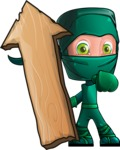 Green Ninja Cartoon Vector Character AKA Takumi - Pointer 2