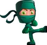Green Ninja Cartoon Vector Character AKA Takumi - Kick 1