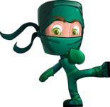 Green Ninja Cartoon Vector Character AKA Takumi - Kick 3
