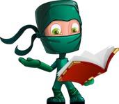 Green Ninja Cartoon Vector Character AKA Takumi - Book