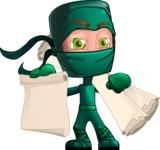 Green Ninja Cartoon Vector Character AKA Takumi - Plans