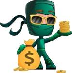 Green Ninja Cartoon Vector Character AKA Takumi - Bling-Bling
