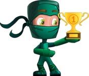Green Ninja Cartoon Vector Character AKA Takumi - Champion