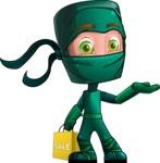 Green Ninja Cartoon Vector Character AKA Takumi - Sale 1