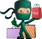 Green Ninja Cartoon Vector Character AKA Takumi - Sale 2