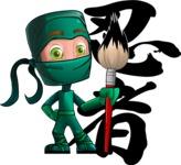 Green Ninja Cartoon Vector Character AKA Takumi - Creativity