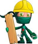 Green Ninja Cartoon Vector Character AKA Takumi - Repair